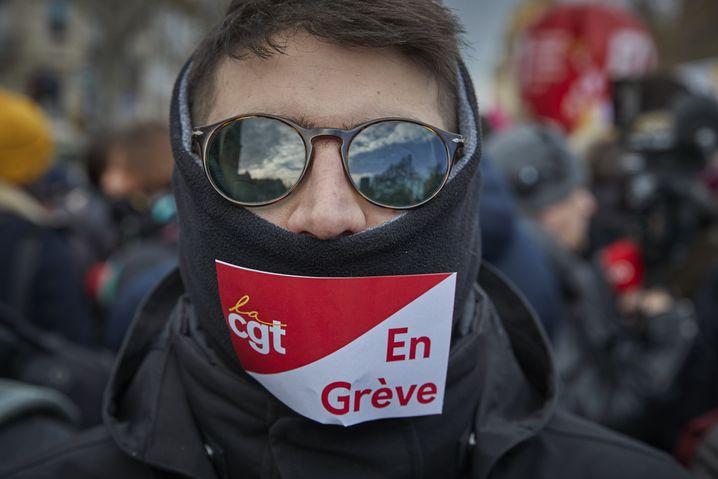 Gewerkschaftsprotest in Paris (am Dienstag): Gegen die Rente mit 64