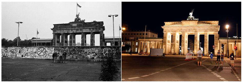 Mit und ohne Mauer: Brandenburger Tor in Berlin