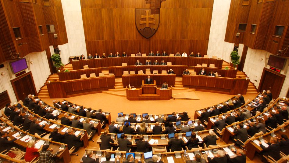 Slovakia's parliament voted for a second time on changes to an EU bailout fund in Bratislava on Oct. 13.
