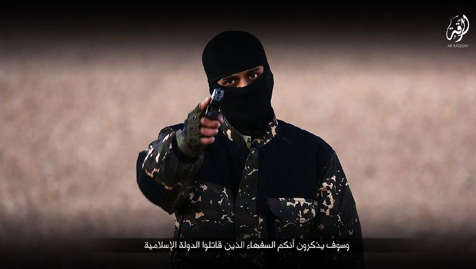 An image grab taken from a video published by the Islamic State.