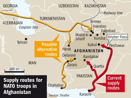 Current and possible routes for supplies to allied soldiers in Afghanistan.