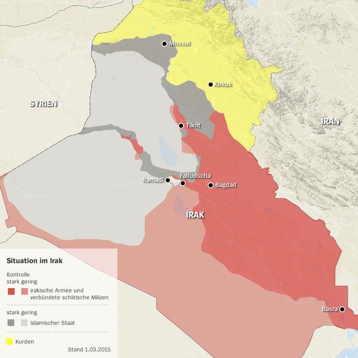 Wer herrscht wo im Irak? Klicken Sie in die Karte (Stand: März 2015)