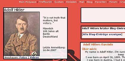 """Hitler by MySpace: """"Männlich, 100 Jahre alt"""""""