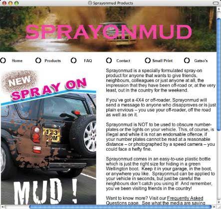 Homepage sprayonmud.com: Matsch aus der Dose