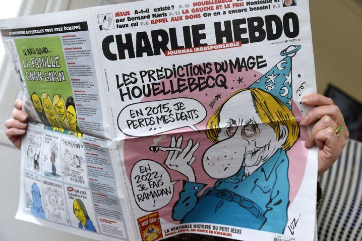 """Titel der letzten """"Charlie Hebdo""""-Ausgabe: Houellebecq auf dem Cover"""