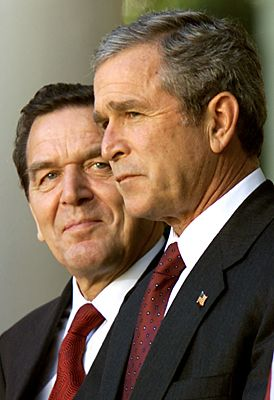 Not a lot of love was lost between German Chancellor Gerhard Schröder and US President George W. Bush.