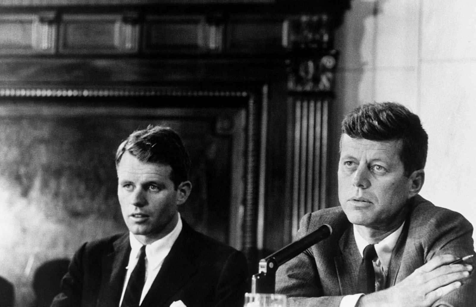 Robert Kennedy and John F. Kennedy at the Mclelllan Hearings, aimed at the Teamsters Union and its leader, Jimmy Hoffa.