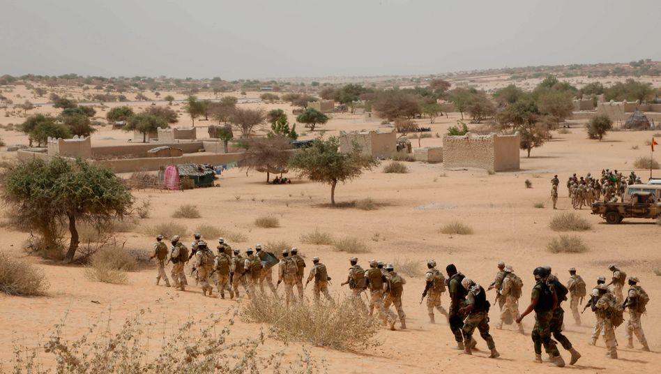 Tschadische und nigerianische Soldaten bei einer Übung im Tschad (Archivbild)