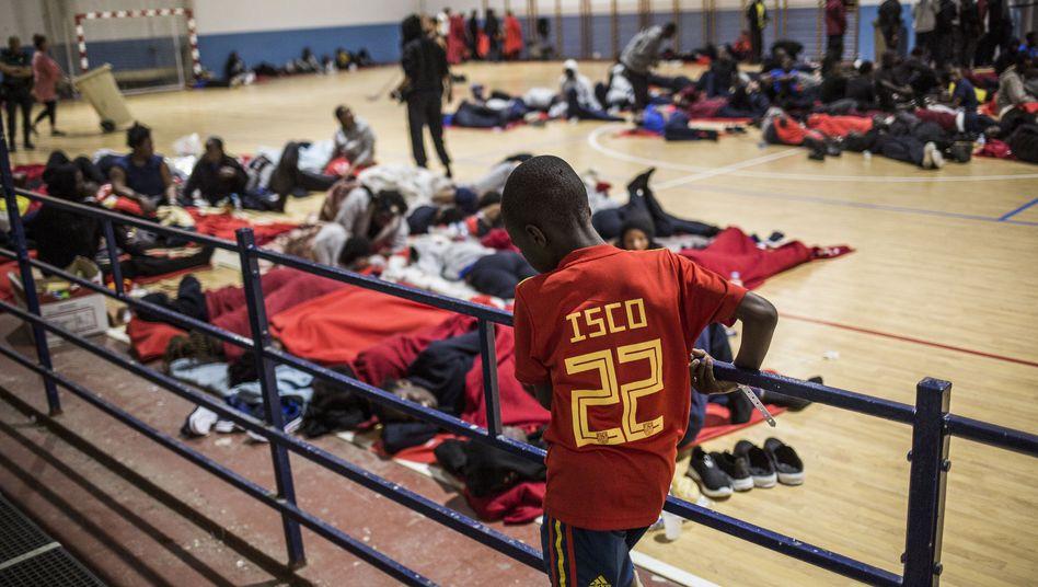 Gerettete Flüchtlinge in Spanien