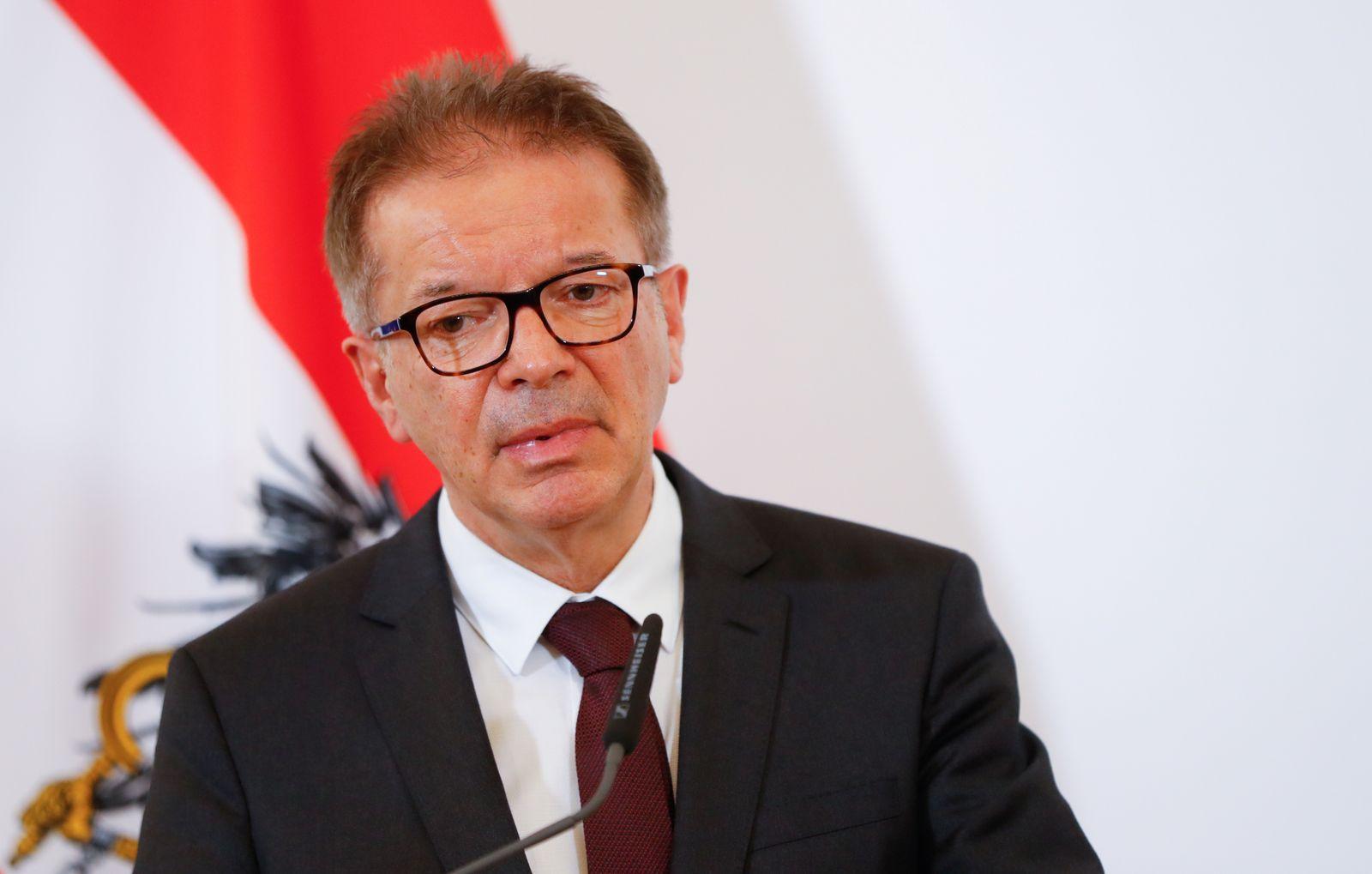 Health Minister Rudolf Anschober addresses the media in Vienna