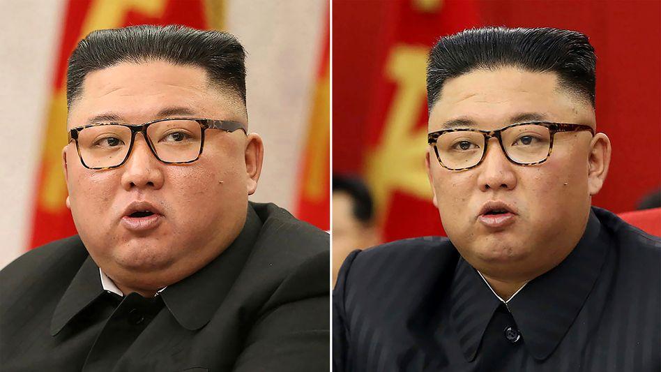 Nordkoreas Machthaber Kim Jong Un am 8. Februar (l.) und am 15. Juni 2021: Lässt er Mahlzeiten aus?