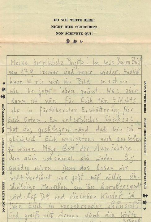 »Das haben wir nicht verdient«: Brief von Hans an Brigitte Frank (22. Oktober 1945)