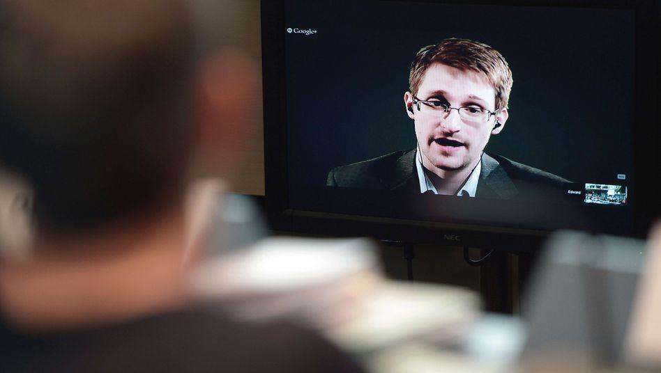 Edward Snowden (bei einer Videoschalte): SPD für Rückkehr in die USA