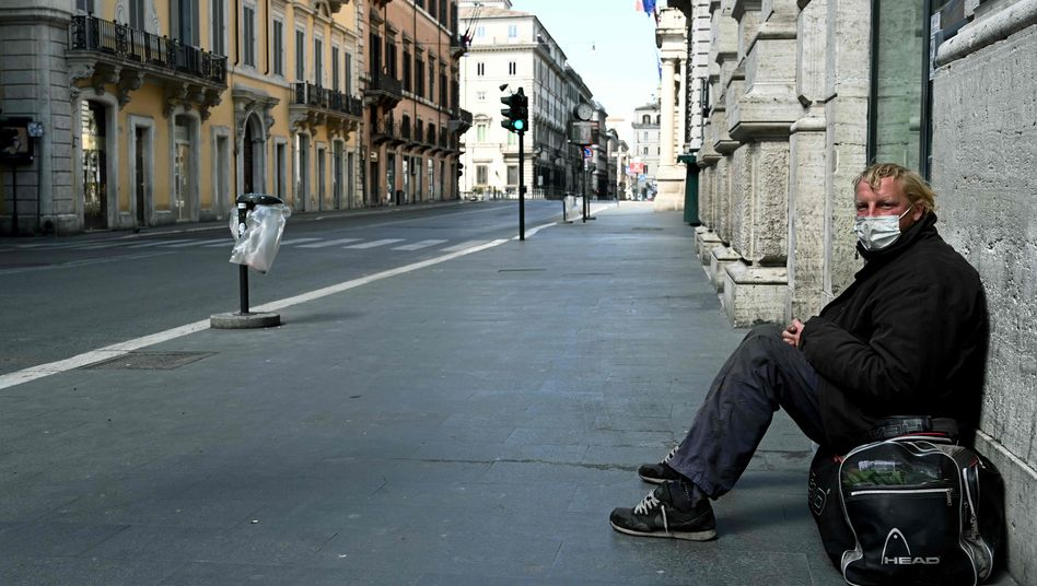 Obdachloser in der Via del Corso in Rom: Konstruktionsfehler der Währungsunion beheben