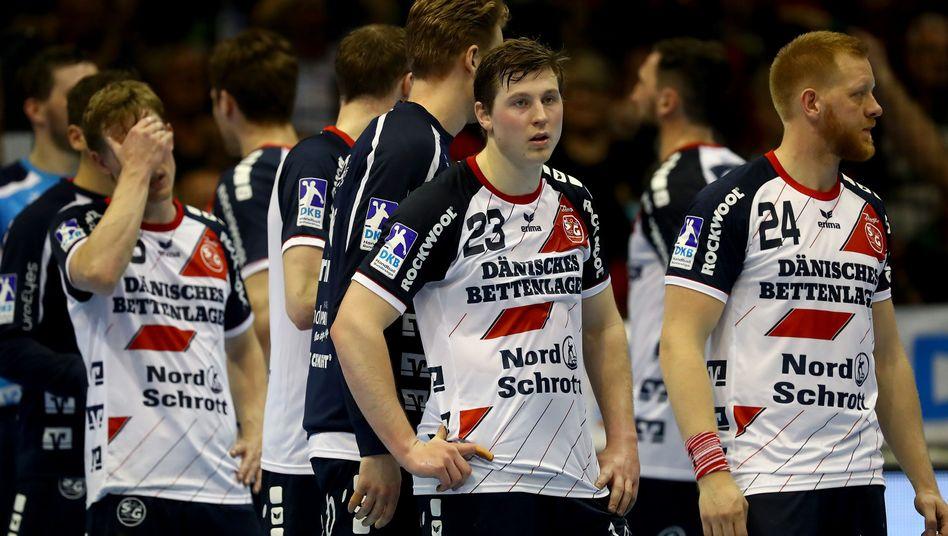 Flensburger Spieler nach der Niederlage