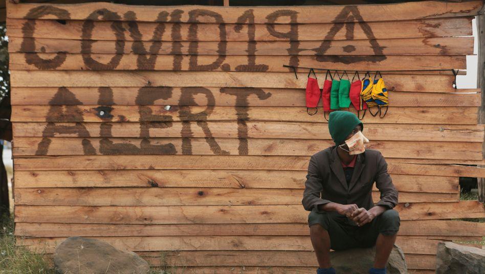 Schutzmasken-Shop in Simbabwe