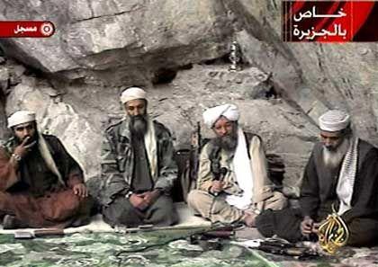 Bin Laden with some of his top deputies.