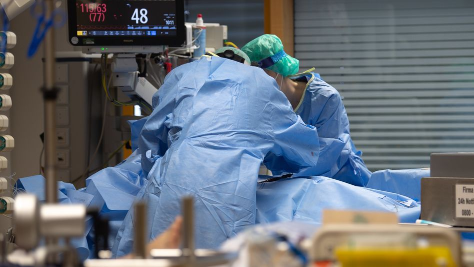 Beatmung eines Covid-19-Patienten (am 8.1.2021 in Ludwigsburg)