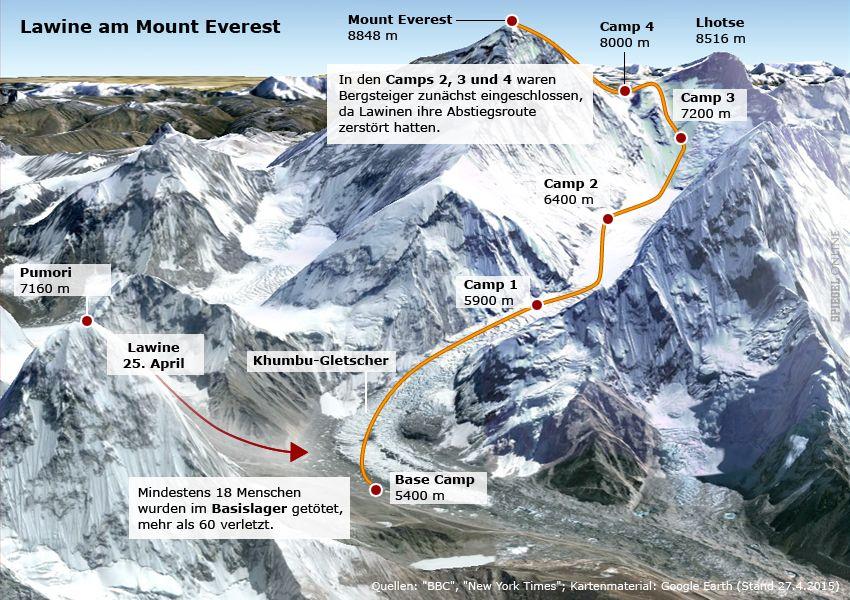 Karte Erdbeben Nepal - Lawine Mount Everest