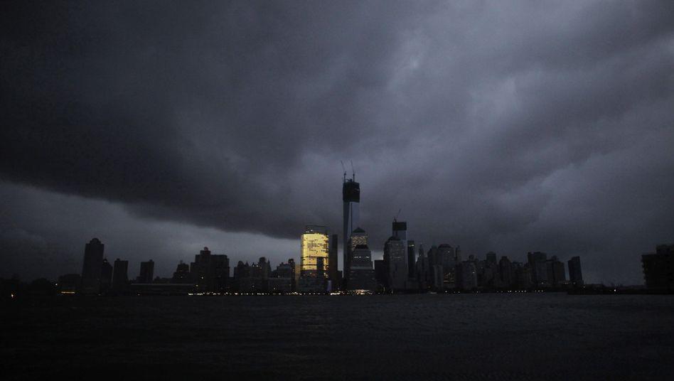 Bankentürme in Manhattan (während eines Stromausfalls 2012): Nur das Gebäude von Goldman Sachs leuchtet