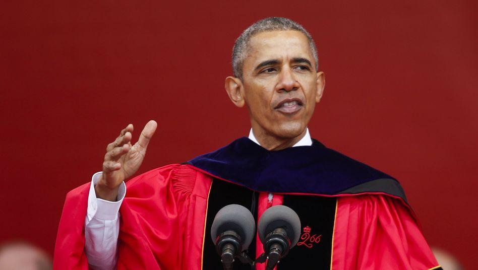 Präsident Barack Obama an der Rutgers University in New Jersey