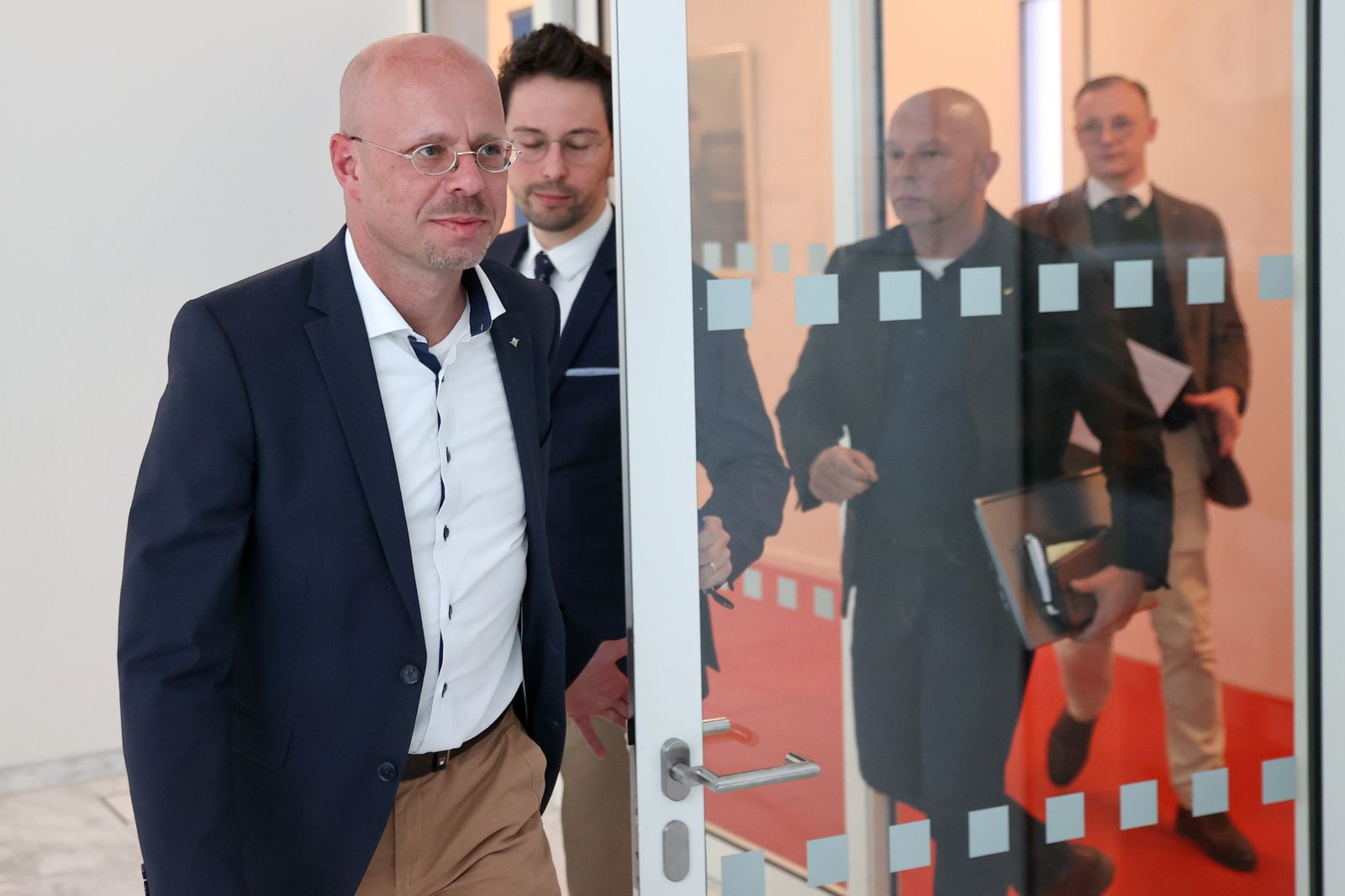Kalbitz arrives for a meeting of the Brandenburg AfD state parliament faction in Potsdam