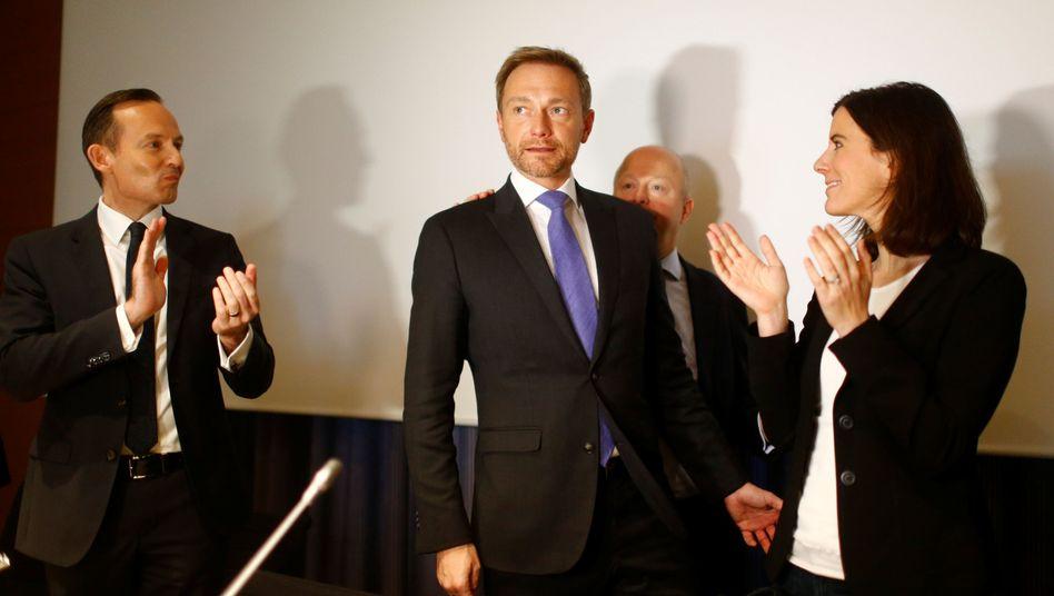 FDP-Politiker Lindner (Mitte), Kollegen Suding (von rechts nach links), Theurer und Wissing