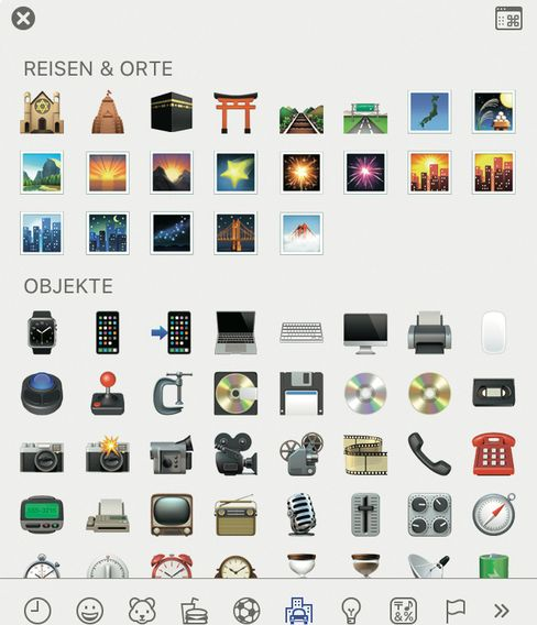 Die Emoji-Palette, auf die über eine Tastenkombination zugegriffen werden kann ...