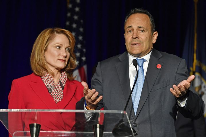 Matt Bevin und seine Ehefrau am Wahlabend in Louisville, Kentucky