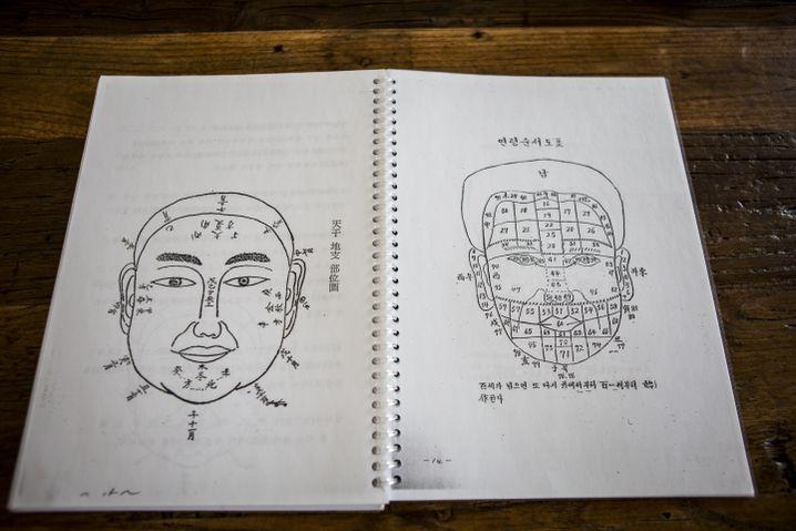 """Lehrbuch über """"Gwansang"""", die Kunst, das Gesicht zu lesen. Sie wird in Südkorea seit Jahrhunderten praktiziert."""