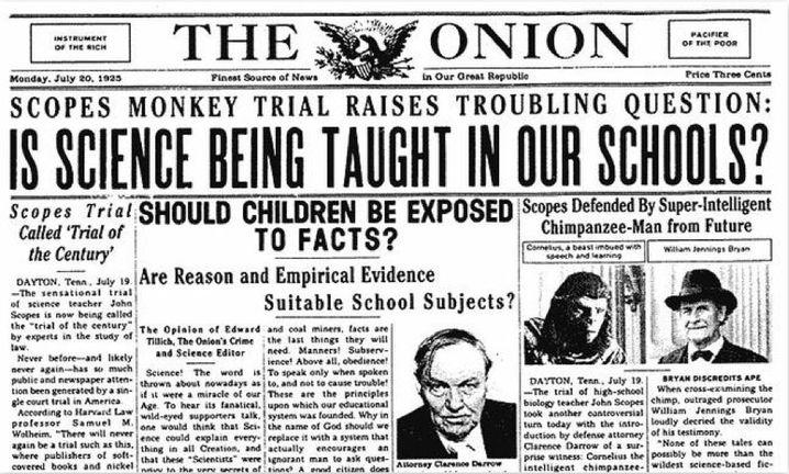 """Die Satire-Zeitung """"The Onion"""" amüsierte sich noch Jahrzehnte später über den Prozess - mit dieser Meldung über hyperintelligente Schimpansen aus der Zukunft"""