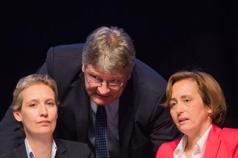AfD-Bundesvorstandsmitglieder: Jörg Meuthen und Beatrix von Storch (beide rechts) stimmten für den Beschluss - Alice Weidel dagegen