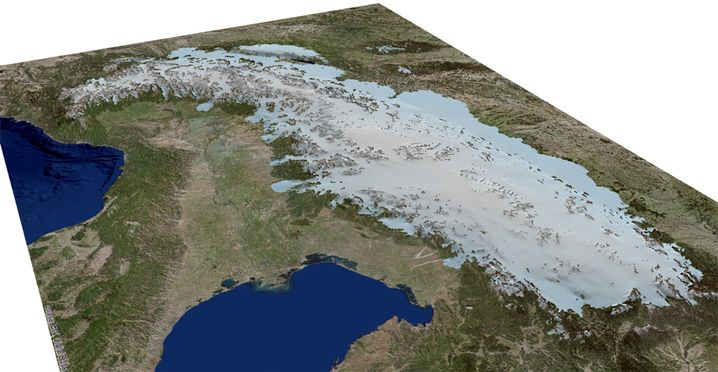 Simulation: Gletscher in den Alpen vor 18.000 Jahren