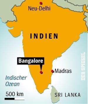 Indien-Karte: Bangalore bildet das IT-Zentrum