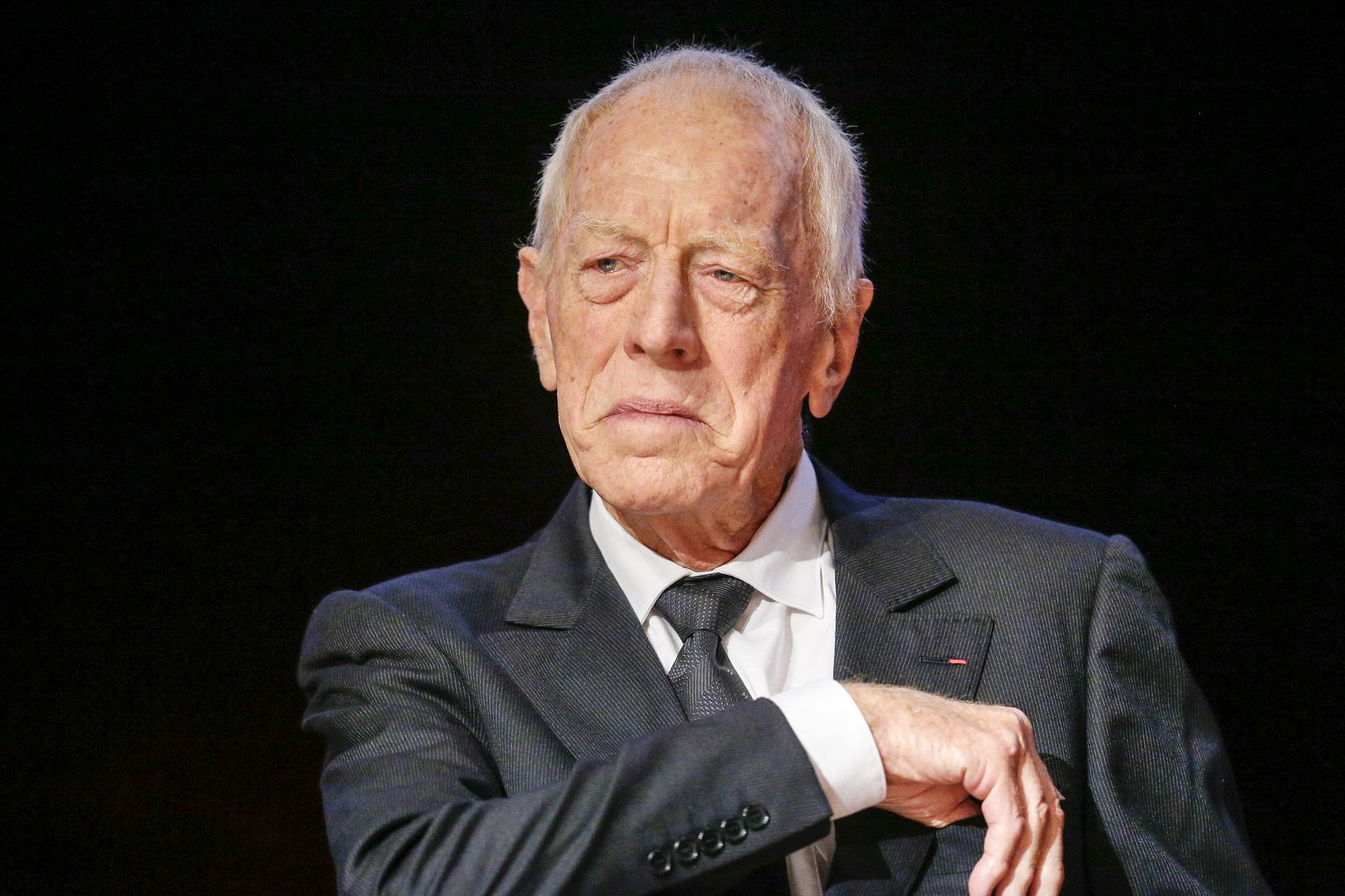 Swedish actor Von Sydow looks on during the 2015 Lumiere Grand Lyon film festival in Lyon