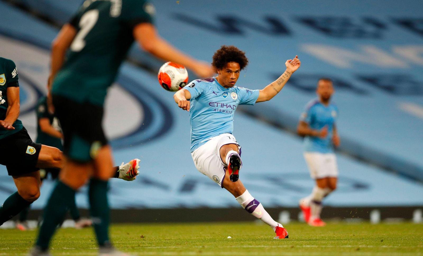 Football - 2019 / 2020 Premier League - Manchester City vs. Burnley Leroy Sane of Manchester City at the Etihad Stadium.