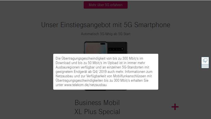 Hinweis auf Wartezeit bis zum 5G-Start auf der Telekom-Website