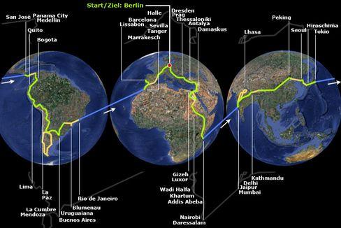 Weltreise in 809 Tagen: Die Route von Thomas Richter