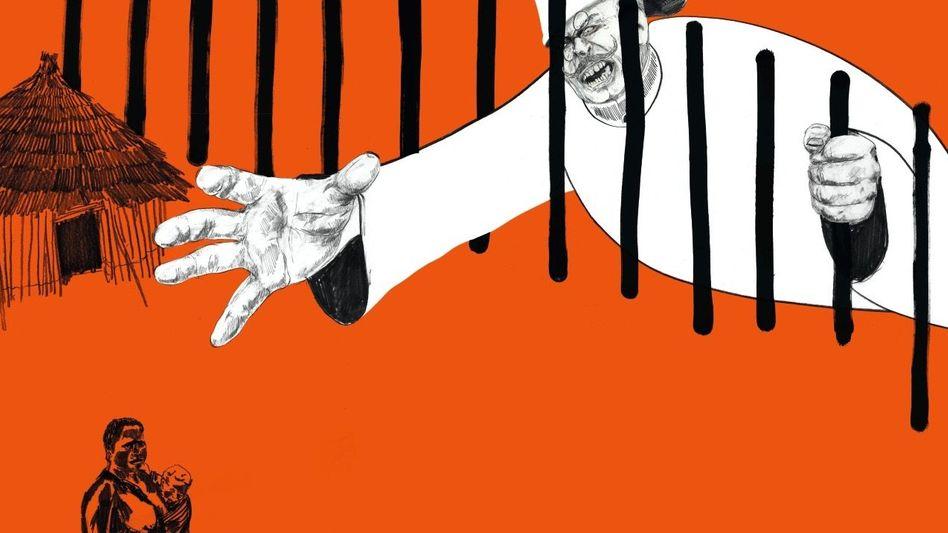 Begafft: Bei »Völkerschauen« mussten sich Menschen in Gehegen betrachten lassen (Illustration)