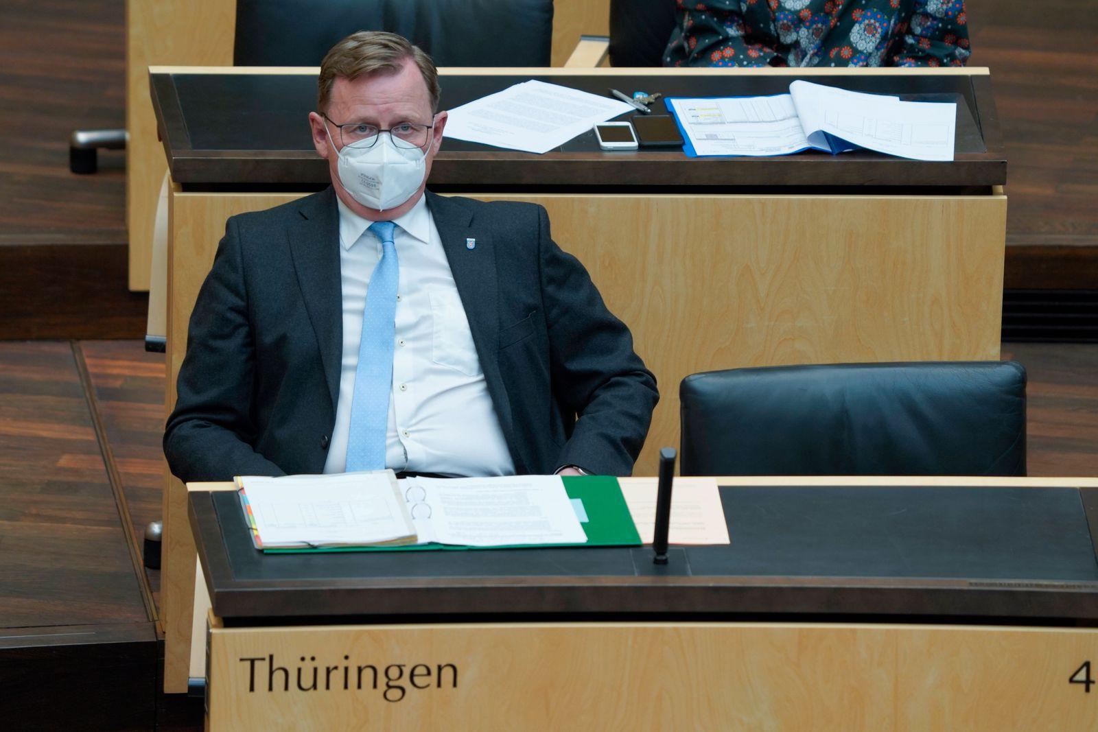 1003. Sitzung des Deutschen Bundesrat Aktuell, 22.04.2021, Berlin, Ministerpraesident Bodo Ramelow (Die Linke) von Thue