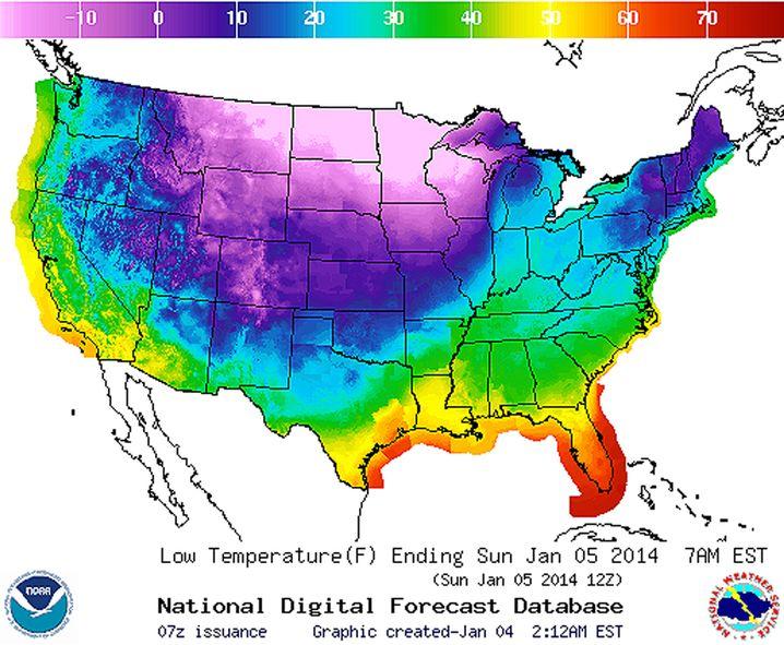 Tiefstwerte Sonntagmorgen: Minus 20 Grad Fahrenheit entsprechen minus 28,8 Grad Celsius