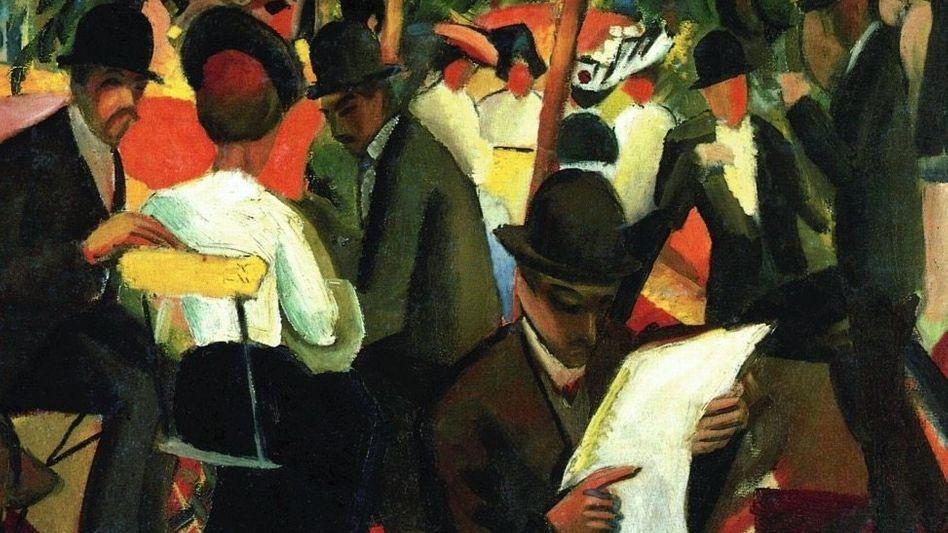 Im Ausschnitt aus August Mackes Gemälde »Gartenrestaurant« (1912, Kunstmuseum Bern) zeigt sich, wie lässig das Essen in der Öffentlichkeit geworden war.