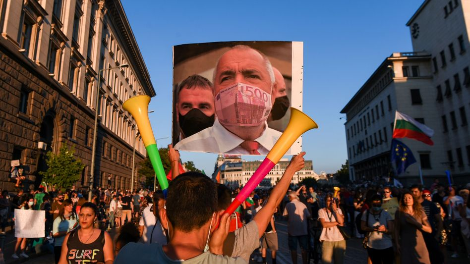 Anti-government rally in Sofia in summer 2020, with a photomontage of then-Prime Minister Boyko Borissov. He has been accused of deep-seated corruption.