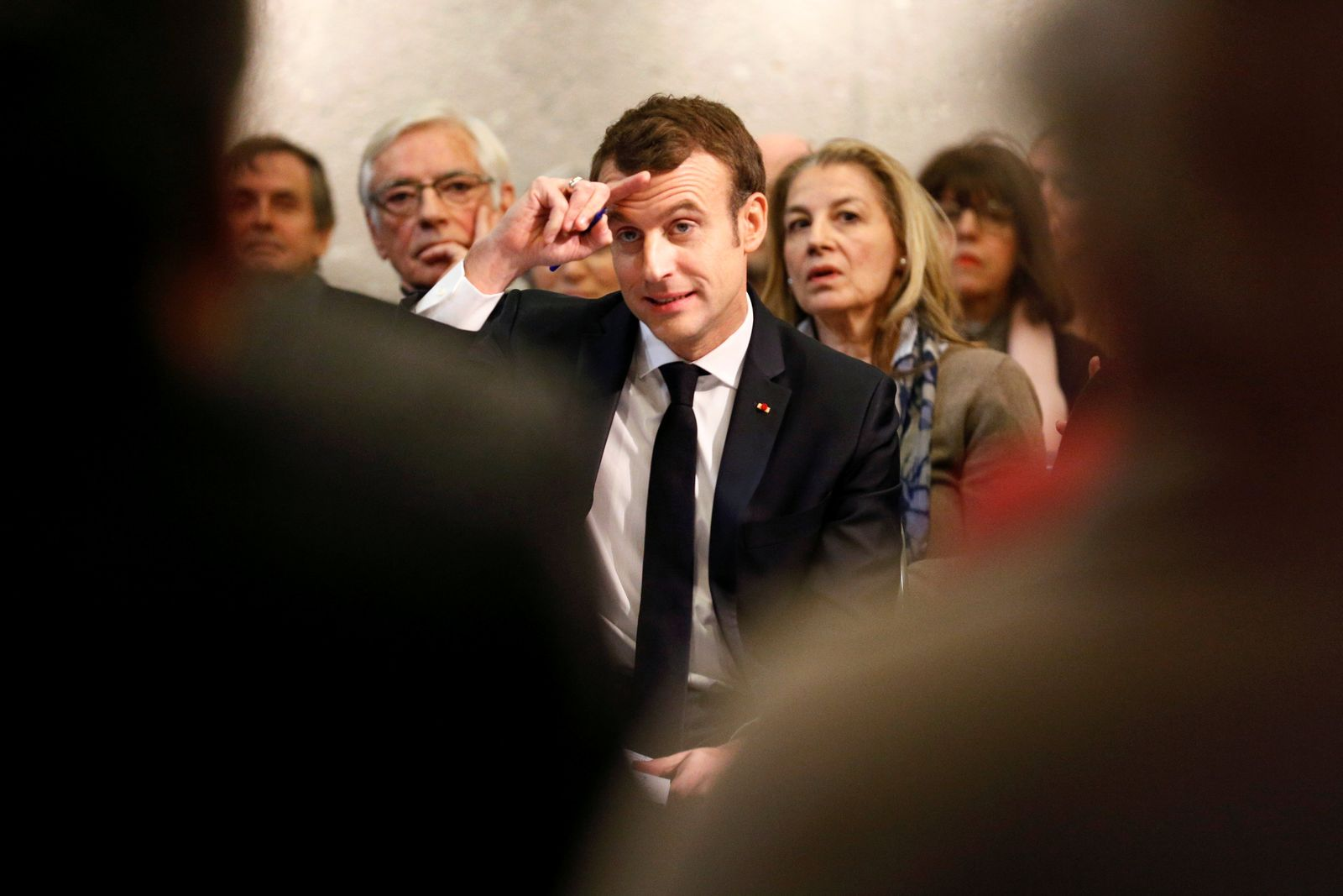 """French President Emmanuel Macron attends a meeting with local residents as part of the """"Great National Debate"""" in Bourg-de-Peage near Valence"""