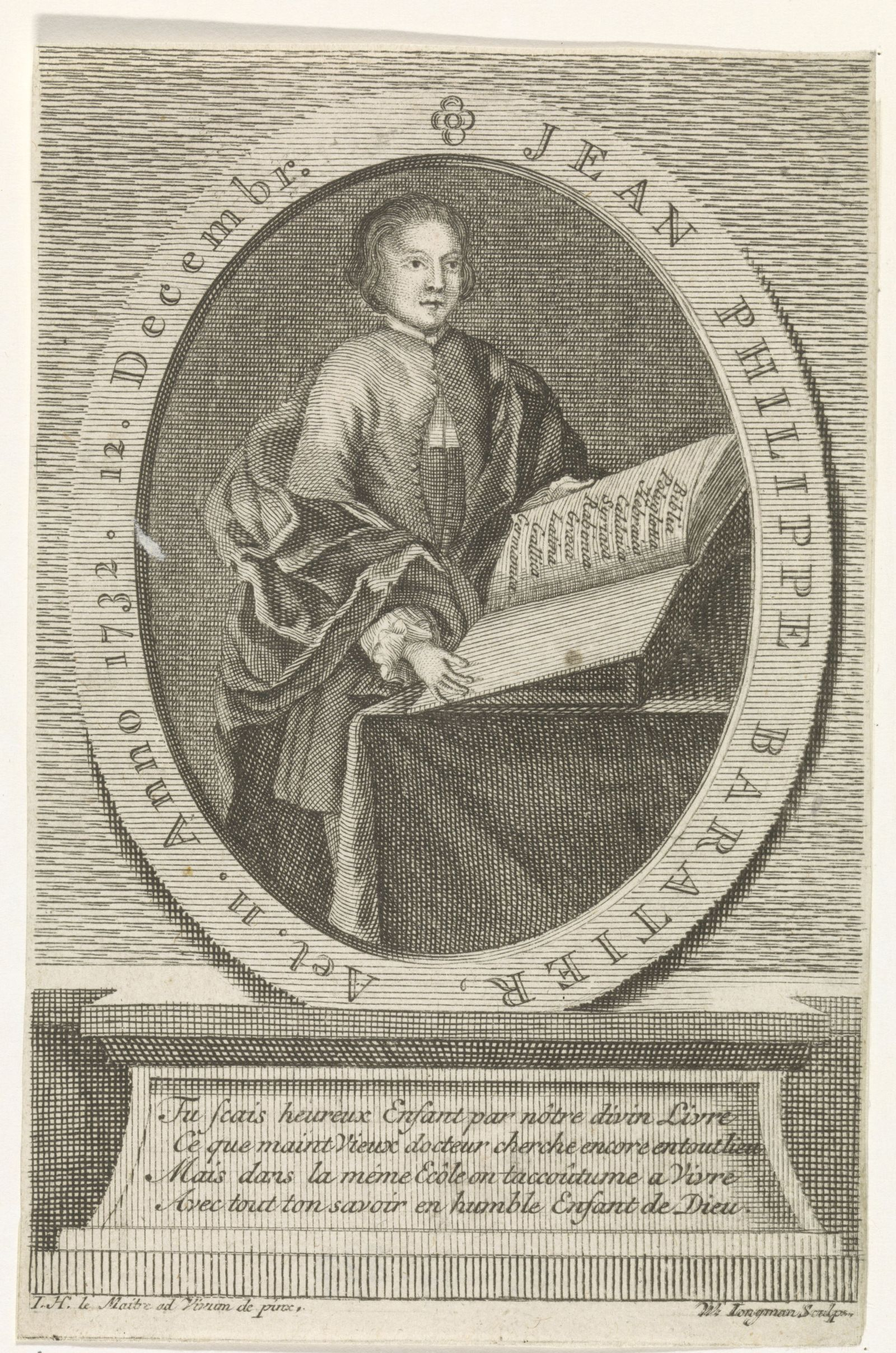 Portrait of Jean-Philippe Baratier, Portrait of the German scholar Jean-Philippe Baratier, aged 11 He is standing in fro
