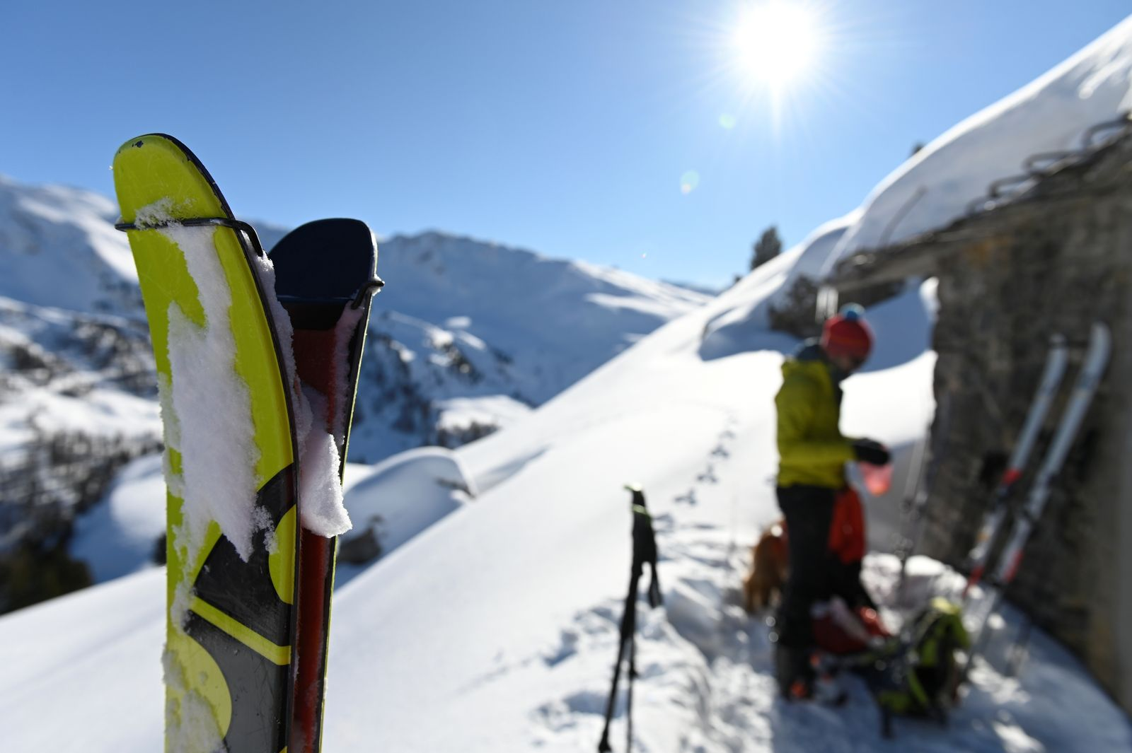 Touring skiers and winter trekkers take to the snowy mountains in the Valle di Susa while resorts remain closed due to coronavirus disease (COVID-19) restrictions, in Cesana