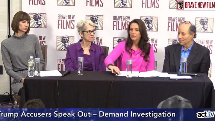Trump-Anklägerinnen bei Pressekonferenz