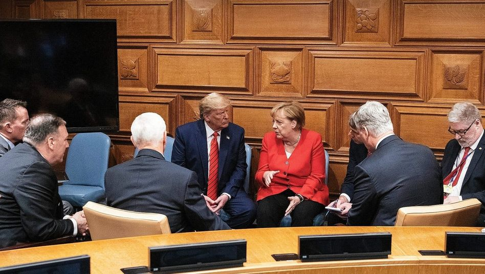 """U.S. President Donald Trump and German Chancellor Angela Merkel at the United Nations in New York in 2019: """"We can't accept that."""""""