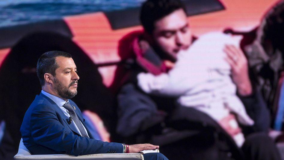 Matteo Salvini bei einer Talkshow des Fernsehsenders RAI