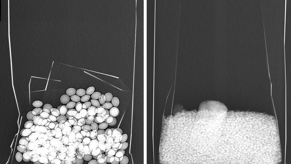 Röntgenaufnahmen von Süßigkeiten (l.) und Risotto